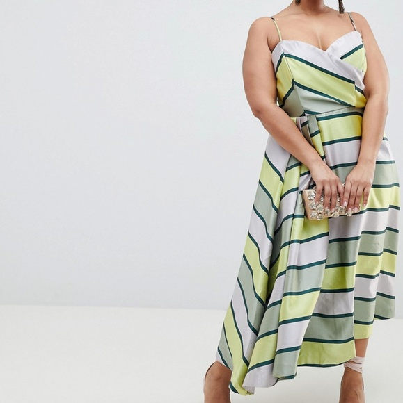 68a17322caa Asos curve plus size green stripe midi dress